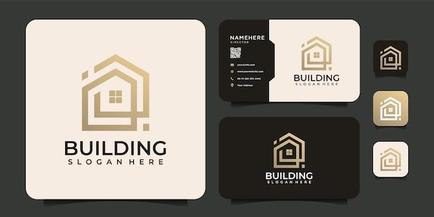 Moderne architectuur gebouw logo-ontwerp voor hypotheekbedrijf in de appartementindustrie