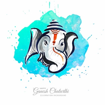 Moderne artistieke gelukkige ganesh chaturthi festivalkaart achtergrond