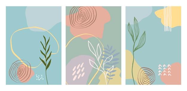 Moderne artistieke kaarten ontwerpsjabloon. set van abstracte achtergrondontwerpen - zomerverkoop, promotionele inhoud voor sociale media. kleurrijke trendy vormen.
