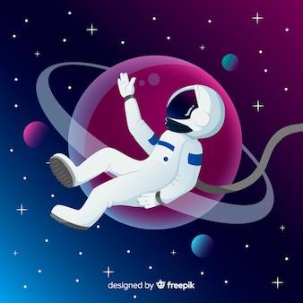 Moderne astronautensamenstelling met plat ontwerp