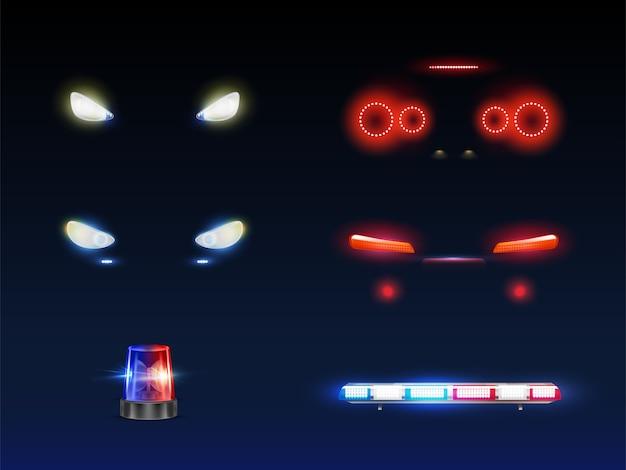 Moderne auto voorkant, terug koplampen, draaiende en knipperende politie of ambulance auto baken en lichtbalk gloeiende witte, rode en blauwe 3d-realistische vector set. passagier buitenste element van het noodvoertuig