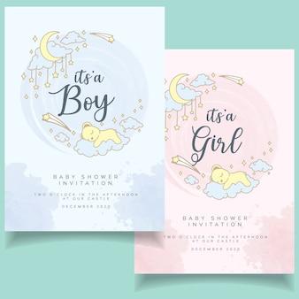 Moderne baby shower flyer uitnodiging met kaart elegante aquarel achtergrond
