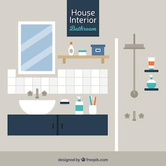 Moderne badkamer in plat design