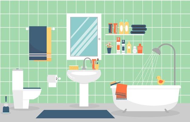 Moderne badkamer interieur met meubels in vlakke stijl. ontwerp een moderne badkamer, tandpasta en tandenborstel, scheermesje en lotion.