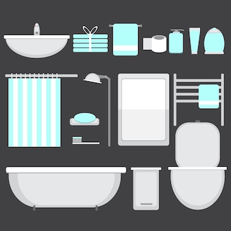 Moderne badkamer ocons in vlakke stijl - vectorillustratie