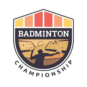 Moderne badminton badge logo illustratie