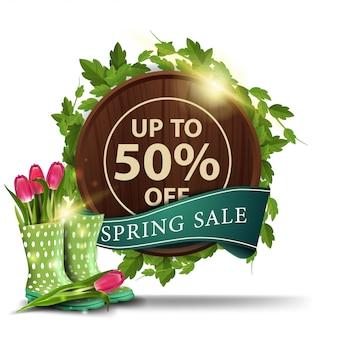 Moderne banner sjabloon van de lente verkoop met tulpen