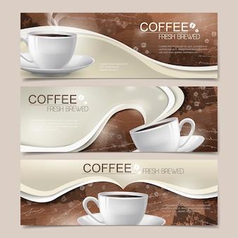 Moderne banners instellen sjabloonontwerp met koffie-elementen