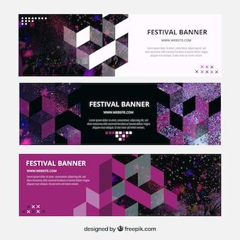 Moderne banners met geometrische vormen