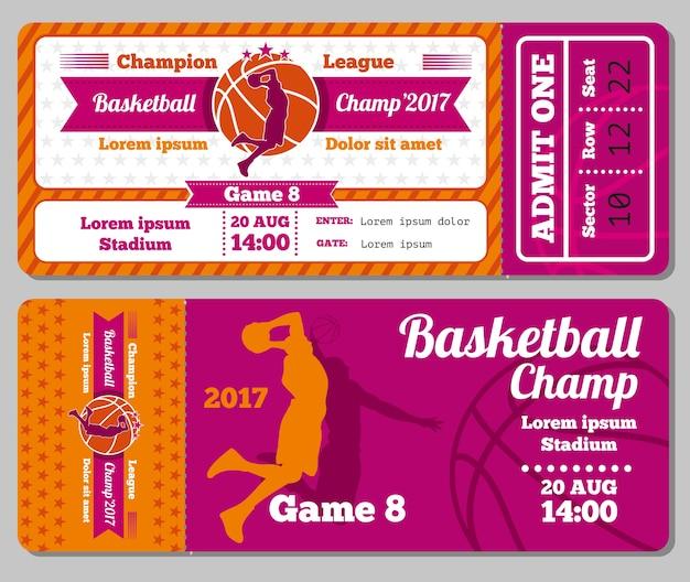 Moderne basketbal ticket vector sjabloon
