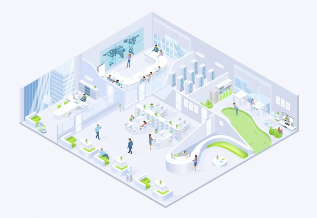 Moderne bedrijfsbedrijf office isometrische vector