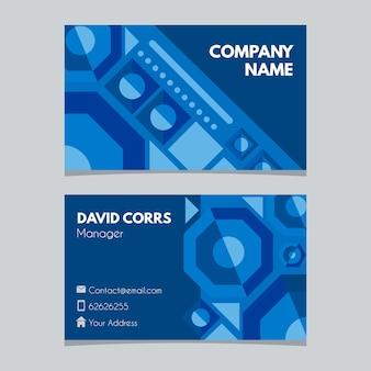 Moderne bedrijfskaart met blauwe geometrische vormen