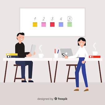 Moderne bedrijfsmensen met vlak ontwerp