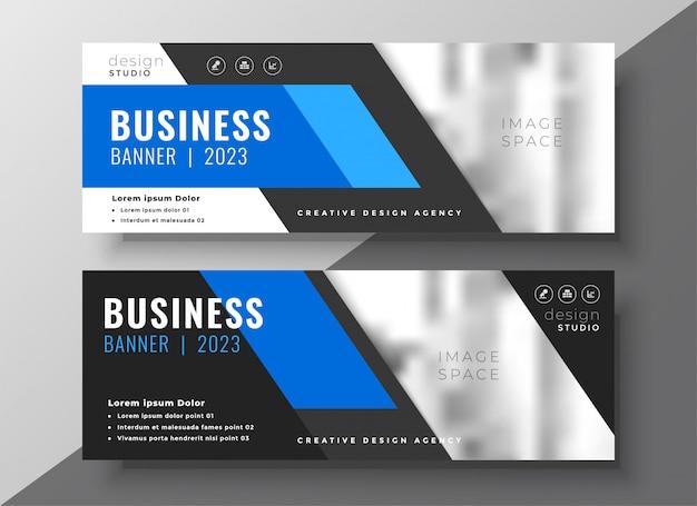 Moderne bedrijfspresentatiebanner in blauwe geometrische stijl
