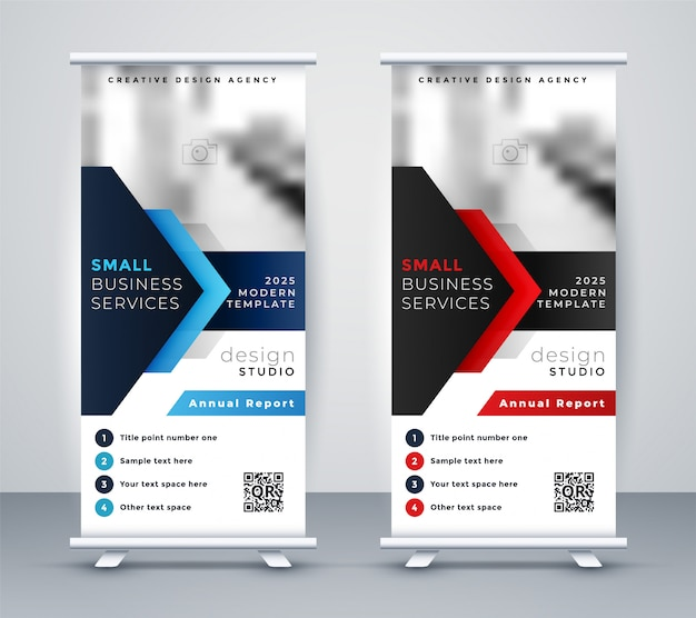 Moderne bedrijfsproupage standee banner in blauwe en rode kleur