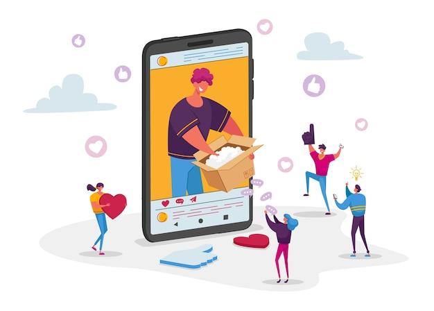 Moderne beïnvloeder of modeblogger die video op smartphone opneemt kartonnen doos uitpakken.