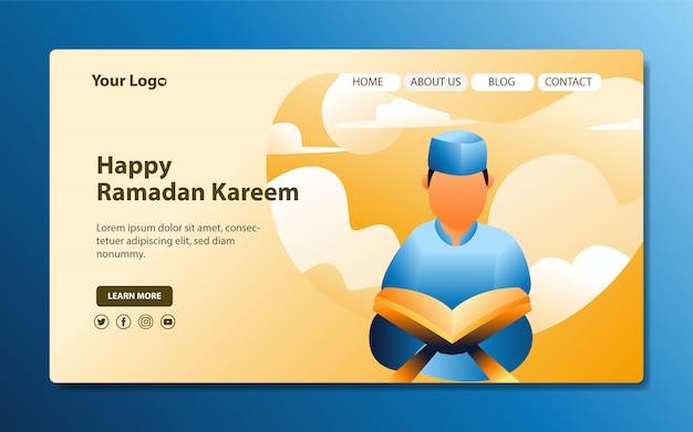 Moderne bestemmingspagina met illustraties die de koran lezen voor de maand ramadan