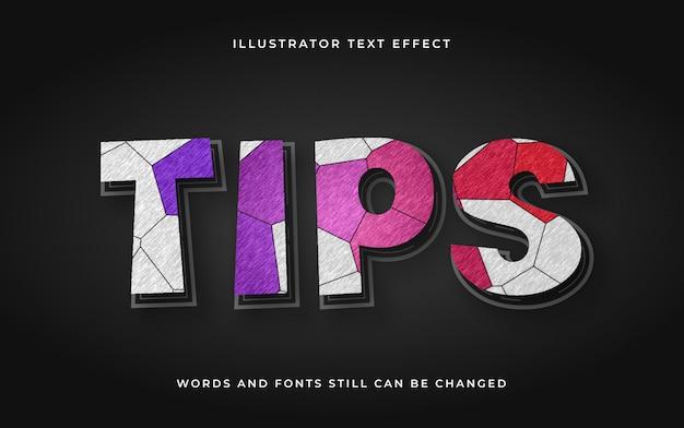 Moderne bewerkbare tekst met textuureffect