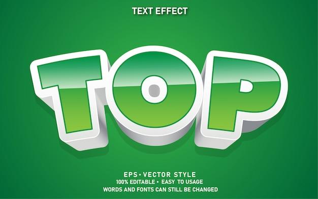 Moderne bewerkbare tekststijl effect top