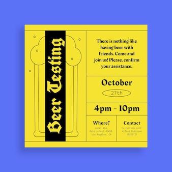Moderne bierproeverij oktoberfest feestuitnodiging