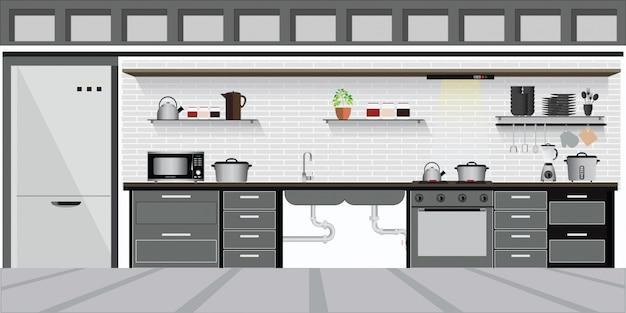 Moderne binnenkeuken met keukenplanken.