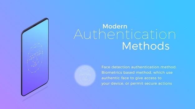 Moderne biometrische authenticatiemethode voor gezichtsherkenning