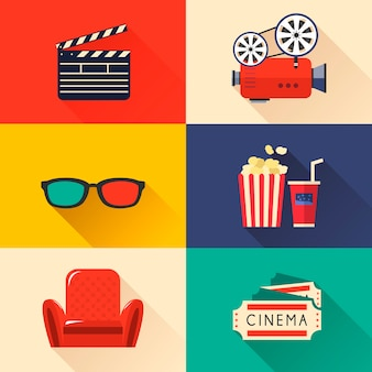 Moderne bioscooppictogrammen in stijl