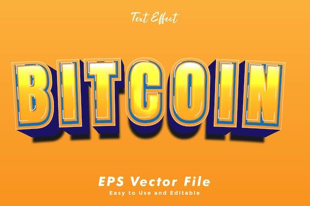 Moderne bitcoin tekst typografie effect sjabloon