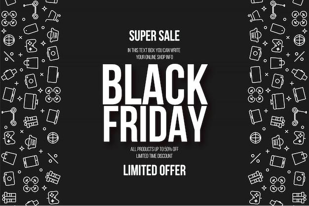 Moderne black friday super sale-achtergrond met vlakke pictogrammen