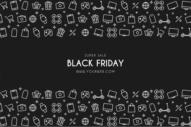 Moderne black friday super sale-achtergrond met winkelpictogrammen