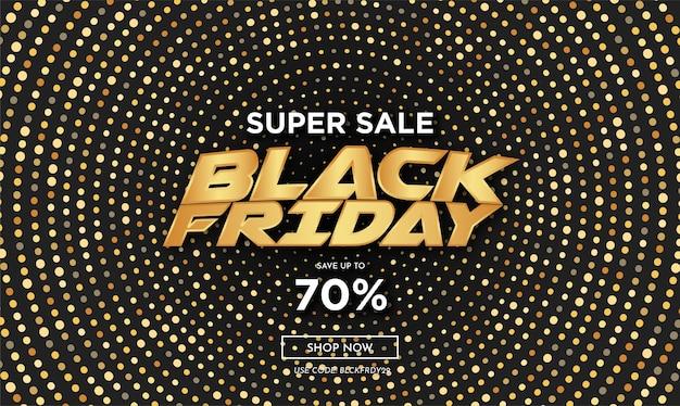 Moderne black friday-verkoop met abstracte gouden cirkel halftone achtergrond