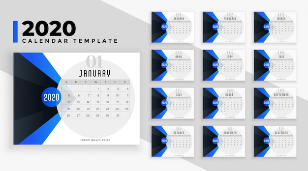 Moderne blauwe 2020 kalender lay-out sjabloon