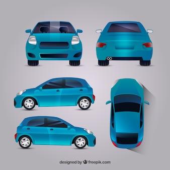 Moderne blauwe auto in verschillende uitzichten