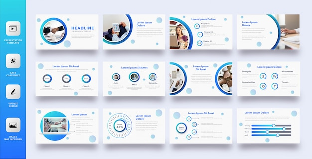 Moderne blauwe cirkel multifunctionele presentatiesjabloon