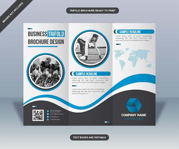 Moderne blauwe curven driebladige zakelijke informatieve brochure