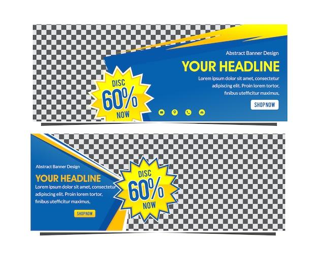 Moderne blauwe en gele super verkoop webbanner korting