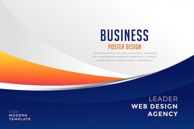 Moderne blauwe en oranje zakelijke presentatiesjabloon