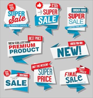 Moderne blauwe en rode verkoop stickers collectie