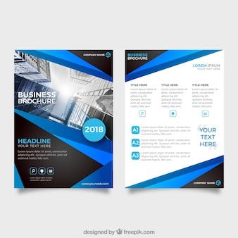 Moderne blauwe en zwarte sjabloon voor zakelijke folders