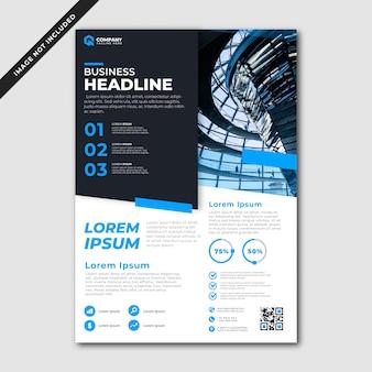 Moderne blauwe en zwarte zakelijke folder sjabloon