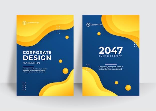 Moderne blauwe gele huisstijl dekking zakelijke vector design achtergrond. flyer brochure reclame abstracte achtergrond. folder moderne poster tijdschrift lay-out sjabloon. jaarverslag omslag.