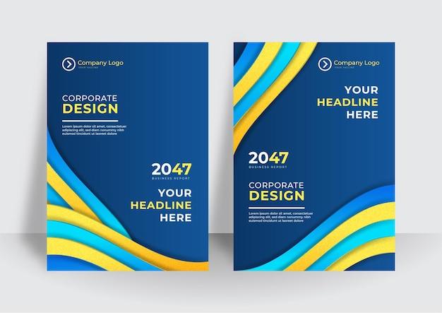 Moderne blauwe gele voorbladsjabloon achtergrond. kleurrijke boekje brochure abstracte voorbladsjabloon. zakelijke omslagontwerpsjabloon voor brochure, rapport, catalogus, tijdschrift of boekje.