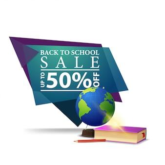 Moderne blauwe geometrische kortingsbanner aan terug naar school met bol en schoolhandboeken