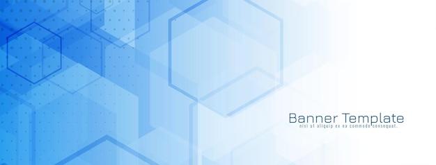 Moderne blauwe geometrische zeshoekige vormenbanner