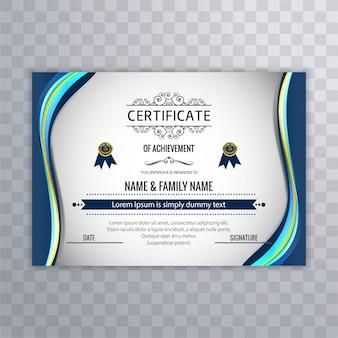 Moderne blauwe golf certificaat achtergrond
