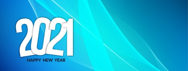 Moderne blauwe golvende gelukkig nieuwjaar 2021 banner ontwerp vector
