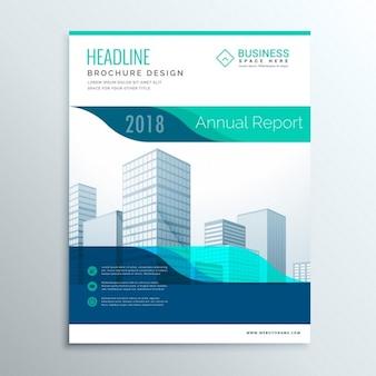 Moderne blauwe jaarverslag brochure flyer template ontwerp voor uw bedrijf