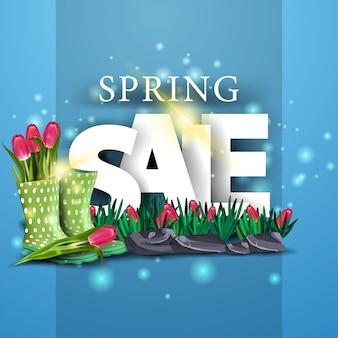 Moderne blauwe lente verkoop banner