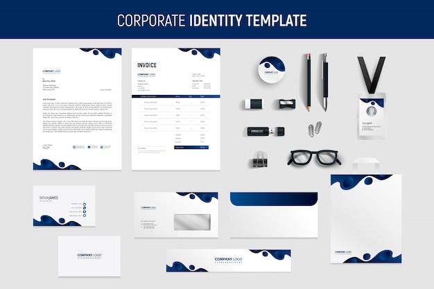 Moderne blauwe professionele briefpapier set