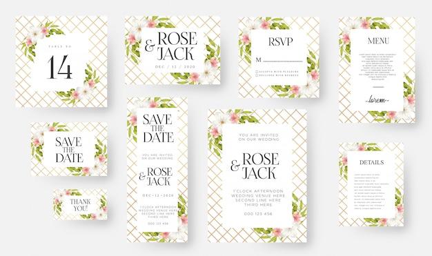Moderne bloemen bruiloft uitnodiging kaartsjabloon ingesteld met aquarel bloemen & bladeren